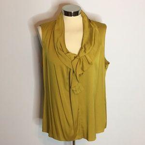 dbf092b64c55b Elie tahari chartreuse silk ruffle blouse